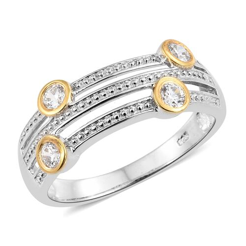 J Francis Platinum and Yellow Gold Overlay Sterling Silver (Rnd) Ring  Made with SWAROVSKI ZIRCONIA.