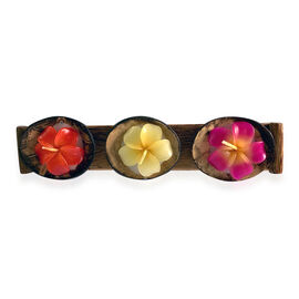 Plumeria Candle in Coconut Tray (Size 3x2 Cm) - Red, Yellow And Pink Colour