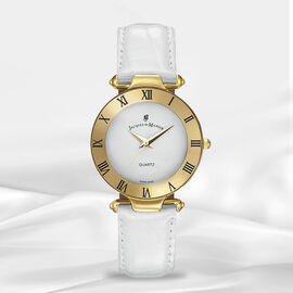 Jacques Du Manoir Swiss Movement White Dial Water Resistant Coupole Watch with White Strap - 33mm