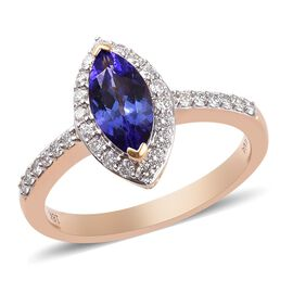 ILIANA 18K Yellow Gold AAA Tanzanite and Diamond (SI/G-H) Ring 1.65 Ct.