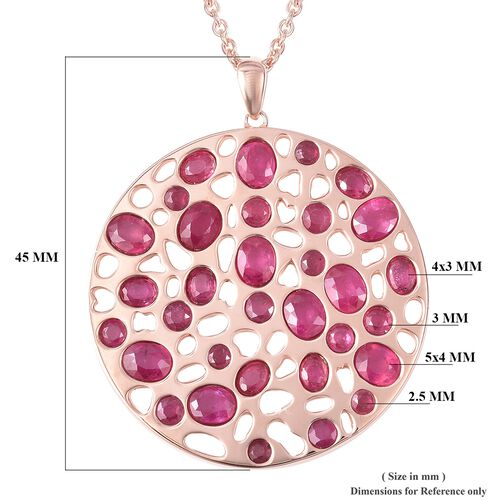 RACHEL GALLEY African Ruby (Ovl and Rnd) Pendant With Chain (Size 30) in Rose Gold Overlay Sterling Silver 7.460 Ct, Silver wt 25.76 Gms