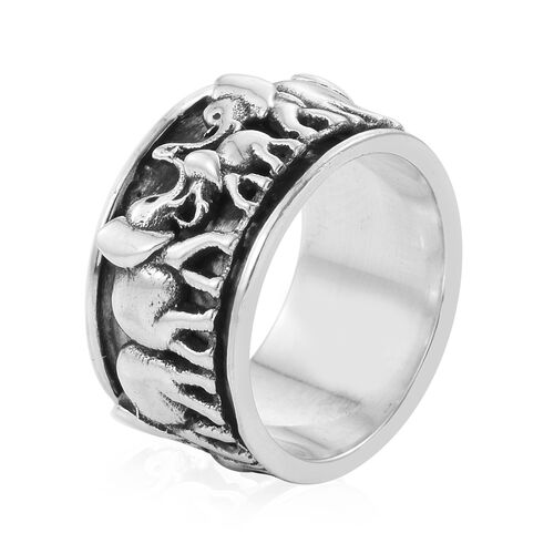 Oxidise Sterling Silver Elephant Band Ring, Silver wt 7.44 Gms.