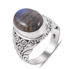Royal Bali Collection Labradorite (Ovl) Ring in Sterling Silver 10.240 Ct. Silver wt 5.39 Gms.