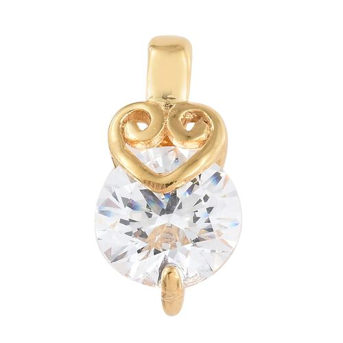 J Francis - 14K Gold Overlay Sterling Silver (Rnd) Pendant Made with SWAROVSKI ZIRCONIA