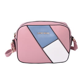 LOCK SOUL Colour Block Pattern Crossbody Bag - Pink, Blue and White