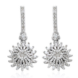 Diamond (Rnd and Bgt) Earrings (with Push Back) in Platinum Overlay Sterling Silver 0.500 Ct.
