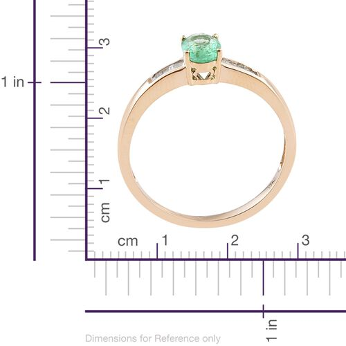 9K Yellow Gold Boyaca Colombian Emerald (Ovl), Diamond Ring 0.900 Ct.