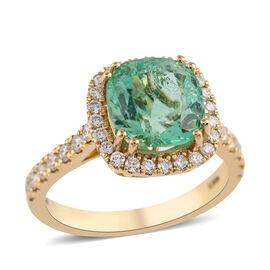 ILIANA 18K Yellow Gold AAA Boyaca Colombian Emerald and Diamond (SI/G-H) Ring 3.01 Ct, Gold wt 4.69