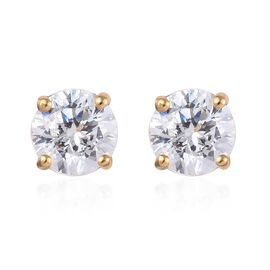 J Francis Made with SWAROVSKI ZIRCONIA Solitaire Stud Earrings with Push Back in Gold Plated Silver