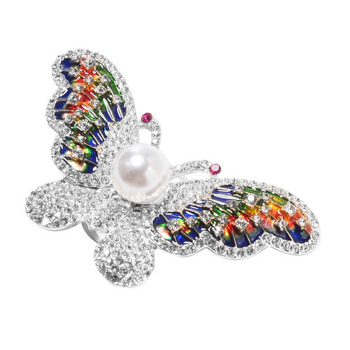 Simulated Pearl, Fuschia, White and Blue Austrain Crystal Magnetic Bangle (Size 7) with Enamelled Butterfly Brooch and Pendant