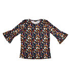 Auburn 3/4 Flute Sleeve Waffle Printed Top (Size M) - Navy - CB 25in