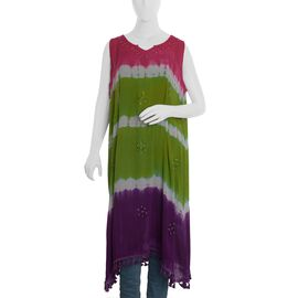 Green and Multicolour Tie and Die Dress (Size 117x66 Cm) (One Size)