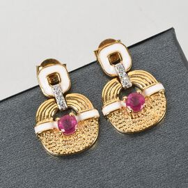 GP Art Deco Collection -  African Ruby, Natural Cambodian Zircon and Kanchanaburi Blue Sapphire Earrings (with Push Back) in 14K Gold Overlay Sterling Silver 1.02 Ct.