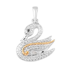Diamond Swan Pendant in Platinum and Yellow Gold Overlay Sterling Silver