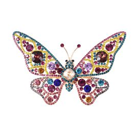 Simulated Brown Zircon and Multi Gemstone Butterfly Pendant or Brooch in Gold Tone