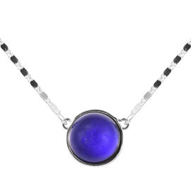 Mood Change Bead Neckalce (Size 18 with 3 inch Extender) in Silver Tone
