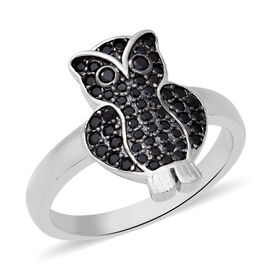 1.21 Ct Boi Ploi Black Spinel Owl Ring in Rhodium Plated Sterling Silver