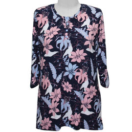 Aura Boutique Supersoft Neck Detail Printed Top in Navy