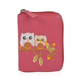 Happy Owl Embroidered 100% Genuine Leather Owl Pattern Raspberry Pink Colour Wallet with RFID Blocki