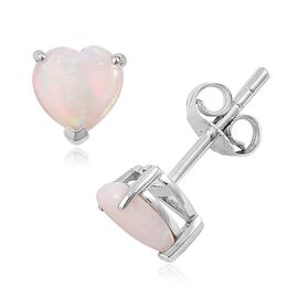 9K White Gold 1.25 Ct AA Australian White Opal Heart Stud Earrings (with Push Back)