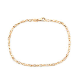 Royal Bali Collection 9K Yellow Gold Graduated Double Curb Link Bracelet (Size 7.5)