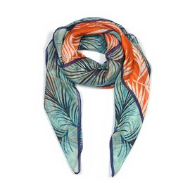 100% Mulberry Silk Palm Leaves Pattern Scarf (Size 100x100 Cm) - Orange and Multicolour