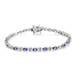 AAA Tanzanite and Natural Cambodian Zircon Bracelet (Size 7.5) in Platinum Overlay Sterling Silver 6