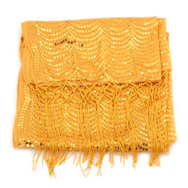 Yellow Colour Sequin Scarf (Size 50x160 Cm)