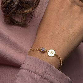 Personalise Engraved Initial and Birthstone  Bracelet