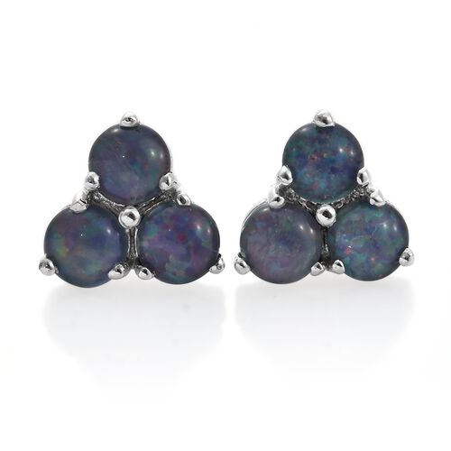 Australian Boulder Opal (Rnd) Stud Earrings (with Push Back) in Platinum Overlay Sterling Silver 2.000 Ct.