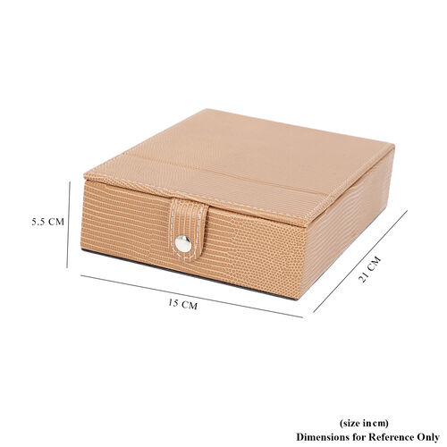 Grace Collection - Lizard Skin Pattern Rectangular Shaped  Anti-Tarnish Jewellery Box with Extendable Mirror, Ring Rows & 5 Sections (Size 21x15x5.5cm) - Brown