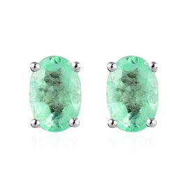 0.85 Ct AA Boyaca Colombian Emerald Solitaire Stud Earrings in 9K White Gold