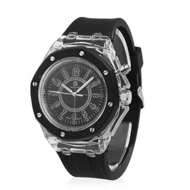 STRADA Japanese Movement Black Dial Water Resistant Watch in Silver Tone with Black Silicone Strap