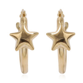 9K Yellow Gold Star Hoop Earrings