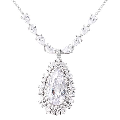 ELANZA Simulated Diamond Teardrop Necklace in Rhodium Plated Silver 13.50 Grams 18 Inch