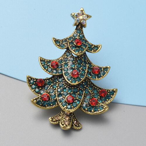 Multi Colour Austrian Crystal (Rnd) Christmas Tree Brooch in Gold Tone