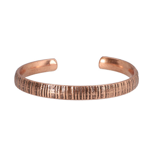 Antique Copper Embossed Cuff Bangle (size 6)