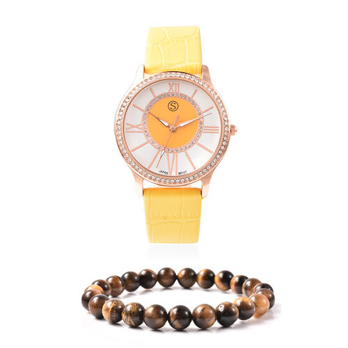 2 Piece Set - STRADA Japanese Movement White Austrian Crystal Studded Watch with Yellow Strap and Ye