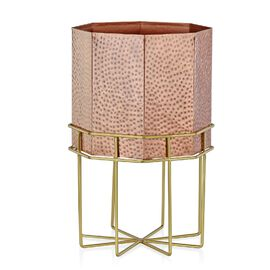 Home Decor - Hammered Octagon Shaped Fire Pit or Planter with Stand (Size 40x26 Cm) - Copper and Gol