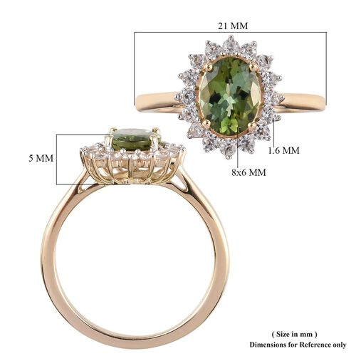 9K Yellow Gold AA Green Tourmaline (Ovl 8x6mm), Natural Cambodian Zircon Ring 1.33 Ct.
