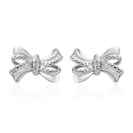 Diamond (Rnd) Bow Earrings (with Push Back) in Platinum Overlay Sterling Silver