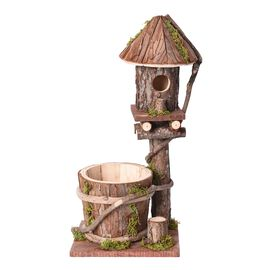 Handmade Wooden Bird house and Bird Feeder (Size 18x14x40 Cm) - Natural