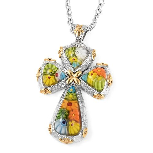 Multi Color Murano Style Glass Cross Pendant With Chain in Stainless Steel