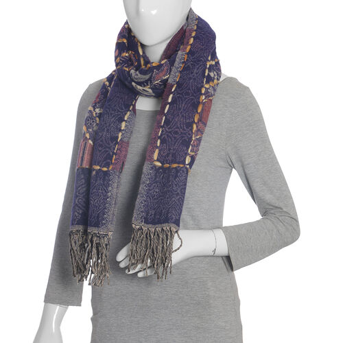 Hand Embroidered Adda Work from India - Navy and Multi Colour Scarf (Size 70x190 Cm)