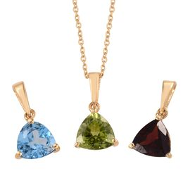 Blue Topaz (1.40 Ct),Chinese Peridot,Mozambique Garnet 14K Gold Overlay 14K Gold Overlay Sterling Si