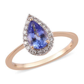 1 Carat Tanzanite and Diamond Halo Ring in 9K Yellow Gold