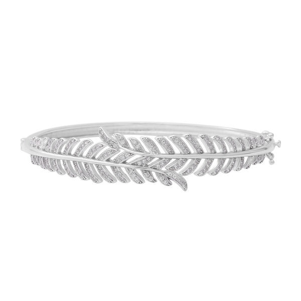 ELANZA Simulated Diamond (Rnd) Bangle (Size 7.5) in Rhodium Overlay Sterling Silver, Silver wt 21.39