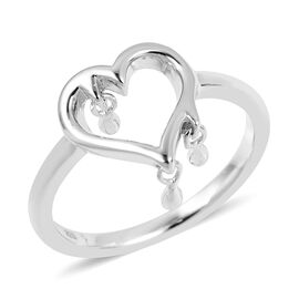 LucyQ Three Drip Heart Ring in Rhodium Overlay Sterling Silver