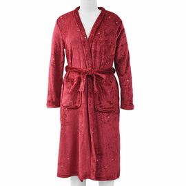 Soft Microfibre Robe with Shiny Stars in the Sky Print (Size 65x120 Cm) - Wine