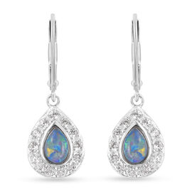 Australian Boulder Opal and Natural Cambodian Zircon Lever Back Earrings in Rhodium Overlay Sterling